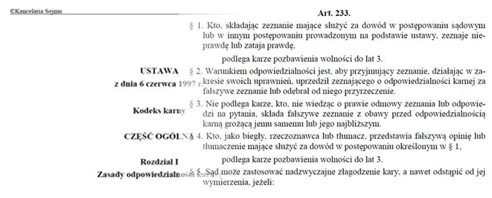 Kodeks karny Art. 233 - składanie fałszywych zeznań
