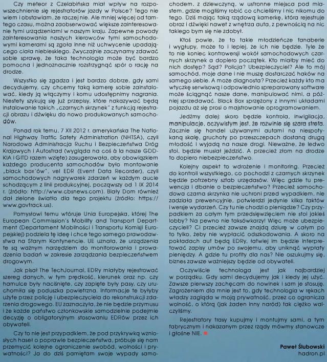 Kierofca - Hadron o rejestratorach samochodowych