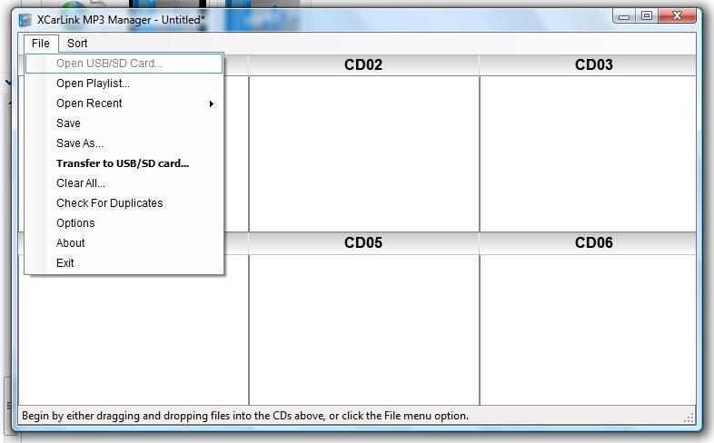 XCarLink MP3 Manager - rozwijane menu