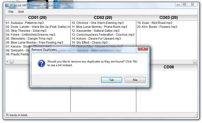 XCarLink MP3 Manager - wyszukiwanie duplikatów
