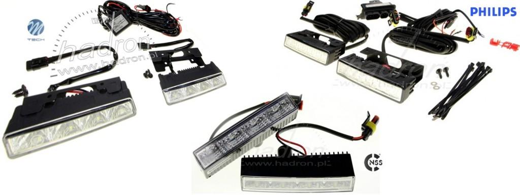Porównanie świateł dziennych LED 12cm, Philips, M-Tech, NSSC