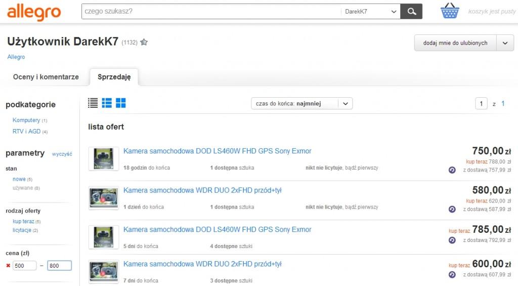 DarekK7 - to jest nieautoryzowany sprzedawca rejestratorów DOD