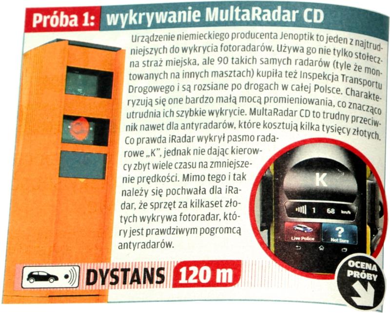 Wykrywanie Multaradar CD przez Cobra iRadar