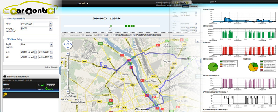 Monitoring pojazdów GPS CarControl