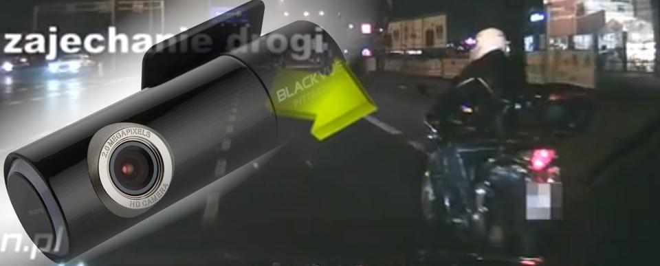 Rejestrator samochodowy nagrał motocyklistę