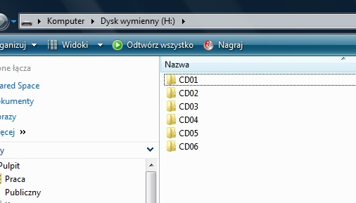 Widok katalogów przygotowanych dla emulatora MP3