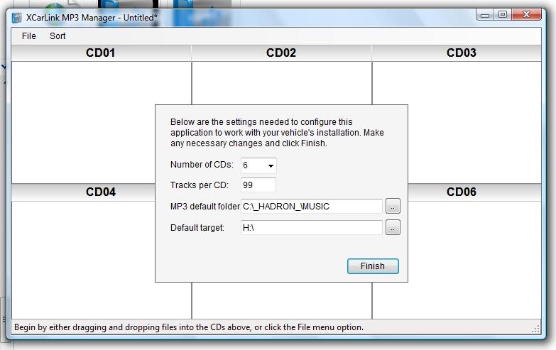 XCarLink MP3 Manager - opcje konfiguracyjne