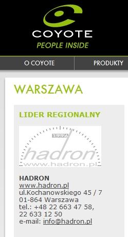 Hadron - Lider Regionalny marki Coyote