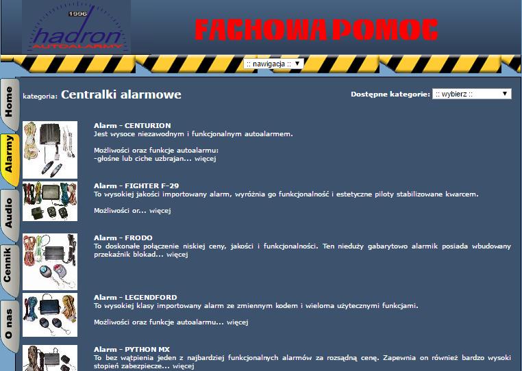 widok starej strony firmy hadron